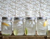 Four Mason Jar Tumblers  - Eco Friendly Living - Gift for Him and Her