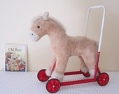 RESERVED /// VINTAGE 1950s JAKAS push, walk, ride on toy - plush pony, horse on metal frame, child's walker toy