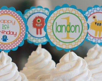 12 Monster Theme Birthday Cupcake or Cake Toppers - Ask About our Party Pack Sale - Free Ship Over 65.00