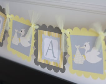 "Baby Shower Yellow & Grey Stork Theme ""It's a Girl"" or ""It's a Boy"" Baby Shower Banner - Ask About Party Pack Specials"