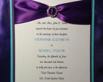 Turquoise and Purple Layered Invitation