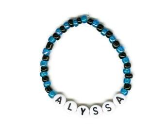Custom Beaded Name Bracelet, Turquoise and Black