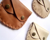 Tan leather wallet -  coins purse