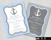 Nautical Baby Shower Invitation- Boy, (Gray & Blue)- Printable
