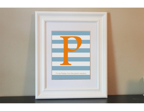 Striped Baby Nursery Name Meaning Art Boy- 8x10 Personalized Print