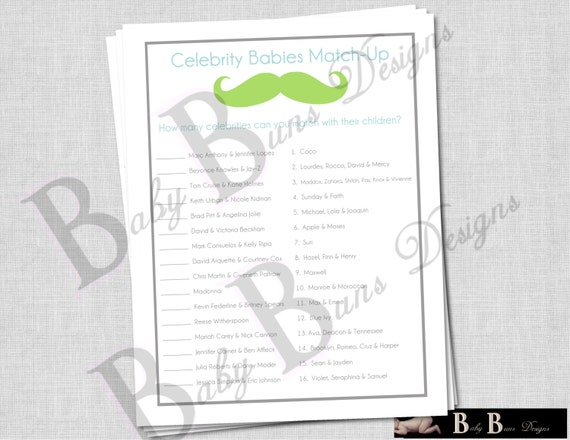 Printable Game for Baby Shower- Celebrity Baby Name Match- Gray Little Man Moustache Theme- INSTANT DOWNLOAD