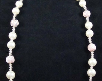 Vintage Pearl Necklace, Pink Pearl Necklace
