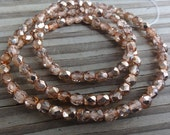Metallic Apricot Czech Glass Faceted 4mm Beads 16 inch Full Strand - Approx 100 Beads - FIrepolished