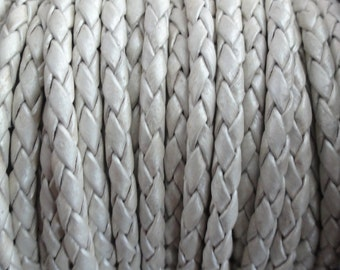 Metallic Pearl Round Braided Bolo Leather Cord  - 3mm Wide - 1 Yard