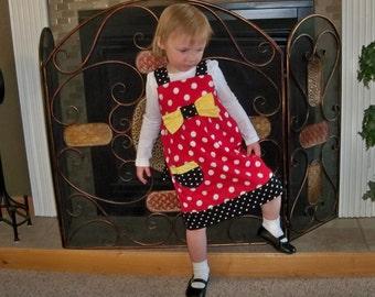 Child size Minnie Mouse  Dress, Jumper  Sundress Red Polka dots Black Polka dots Yellow