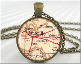 Amarillo Map Pendant, Resin Charm, Amarillo Texas Map Necklace, Round Bronze, Map Charm, Gift Under 20 (459RB)