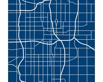 Oklahoma City Map Art / OKC Map Print Personalized Grad Gift / 8x10 Wall Art / Choose your color