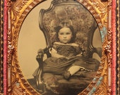 Beautiful Girl Fantastic Rococo Revival Victorian Chair Ruby Ambrotype 1/6th plate