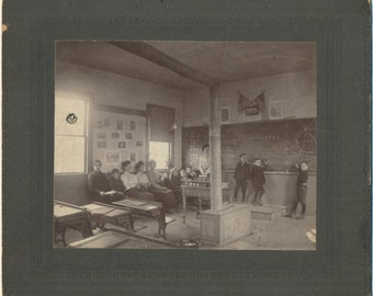 One Room Schoolhouse March 20 1903 cabinet card vintage original photograph