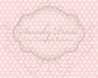 5ft x 7ft Vinyl Photography Backdrop Pale Light Pink Polka Dots Vintage