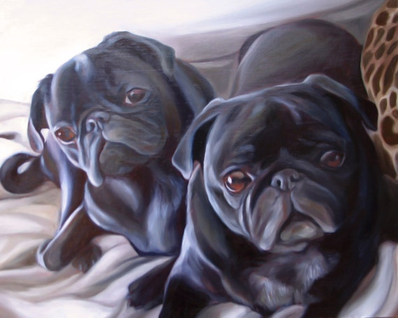 Custom Pet Portrait - PUGS - Oil painting - Perfect Gift