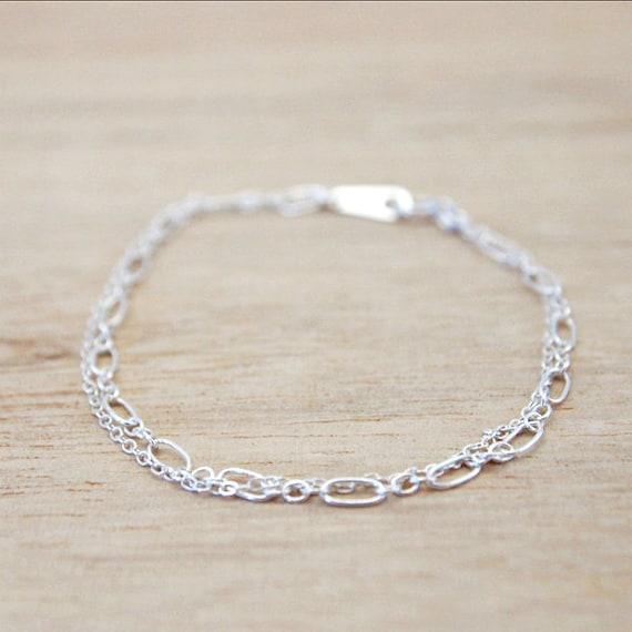 Aurora . Double chain bracelet . Sterling silver