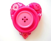 Brooch Pin Felt Heart large pink OOAK buttoned and beaded brooch number 65