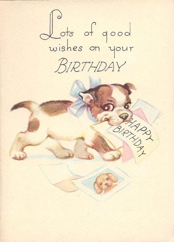 Vintage Birthday Card // Unused 1950's Puppy Dog Greeting Card by Gibson-Norwalk