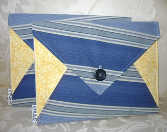 Oversized Envelope Clutch or iPad Case Sleeve, Yellow Floral & Blue Asymmetric Stripe