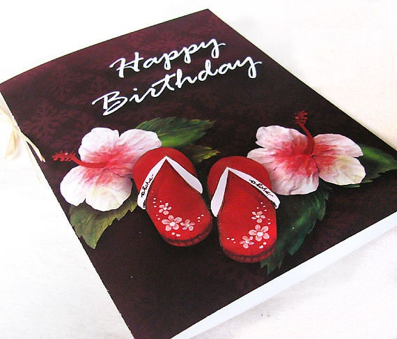 happy birthday card hawaiian flip flop slippers and by hulasistas, Birthday card