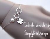 Infinity love bracelet, lucky clover bracelet, four leaf clover, best friends gift, sisters bracelet, infinity symbol bracelet, anniversary