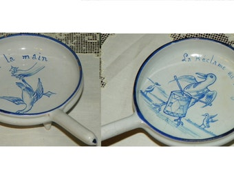 2 Antique RARE E Galle Pottery Pate' Dish 1880 Humorous Duck Signed skillet