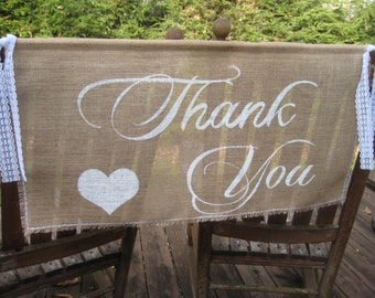 Thank You Banner, Burlap Banner, Rustic Wedding, Burlap Wedding, Rustic Wedding Sign, Burlap Sign, Burlap Thank You, Your Divine Affair