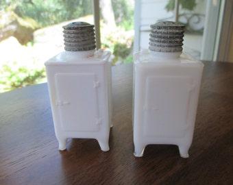 Vintage Milk Glass Fridge Salt and Pepper Shakers