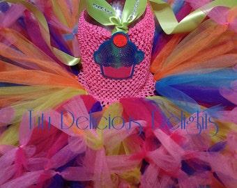 Birthday Cupcake Tutu Dress, Petti Tutu Dress, Kids Birthday Tutus, Pageant Dress, Kids Photo Props
