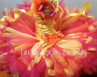 Dr. Seuss Lorax Orange Hot Pink Yellow Petti Tutu Dress, Dr. Seuss Tutu Dress, Dr. Seuss Party, Kids Birthday Tutus, Kids Photo Props