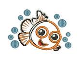 Nemo Applique, Embroidery Design, Fish Applique (185) Instant Download