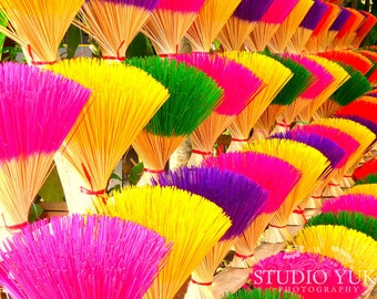Colored Incense - Colorful Rainbow Colors Travel Photo Market Asia - Fine Art Photography 8x10