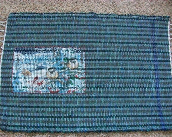 loom woven rag rug mosaic picture chickadee  blue and green South dakota made