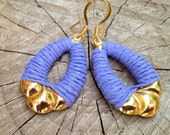 Bright Lavender Earrings, wrapped with cord