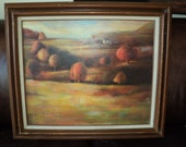 Vintage Original Oil Painting of A colorful Fall Landscape Scene, An  Original Oil Painting on Canvas  by the Artist Patricia Bukur, 1980