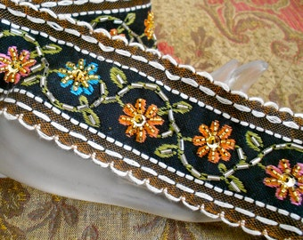 Multi Colored Floral Stitched Beaded Trim