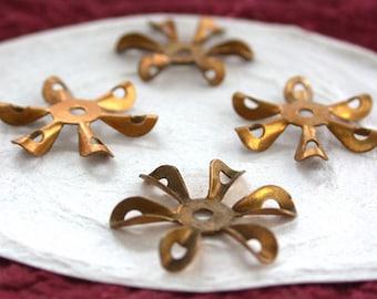 Brass Flower Stampings, Metal Stamped Flowers, Vintage Style Metal Flowers STA-083