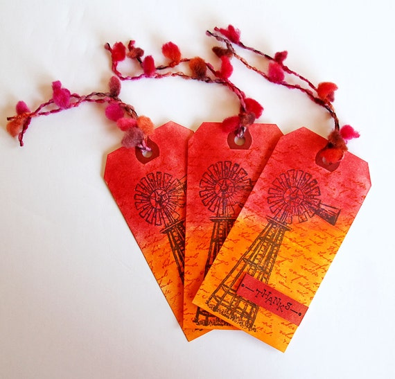 Country Windmill Tag in Fiery Orange and Red, Set of 3 Thank You Tags, Hand Stamped Gift Tags, Brilliant Fall Colors