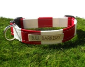 "Dog collar...The ""Copa Cabana"".... Red and white stripe...Any size..."