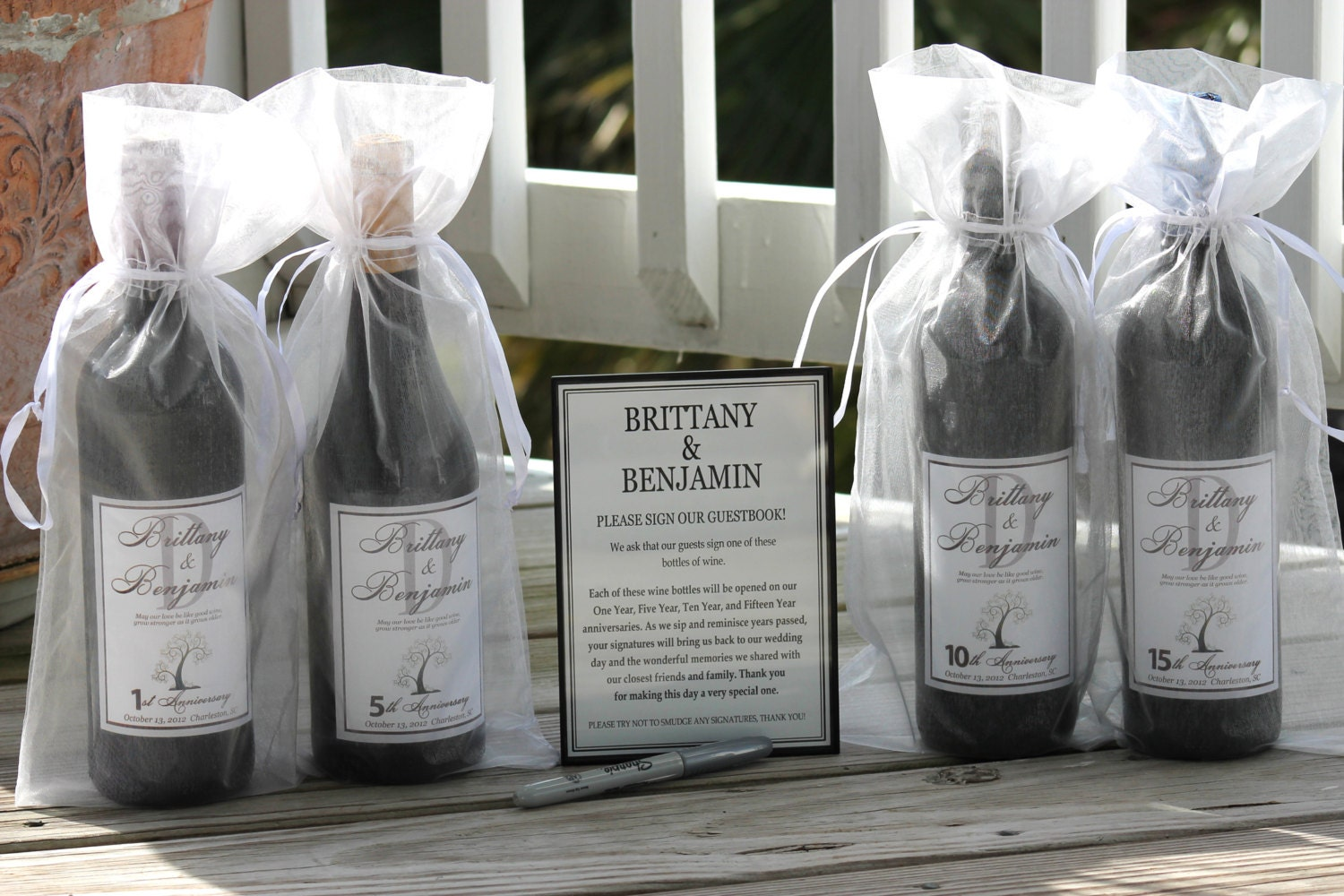 Wine Bottle Wedding Guest Book Kit Gift Boxed Custom Labels