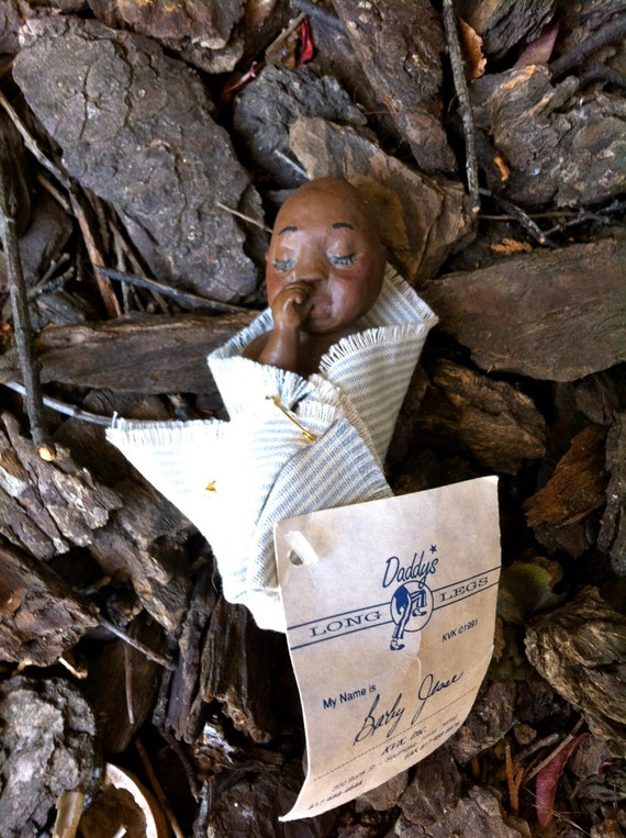 Rare Daddy's Long Legs 'Baby Jesse' Doll with Original Tag and Cloth