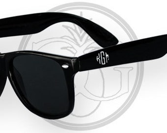 Circle Block Engraved Black Wayfarer Sunglasses