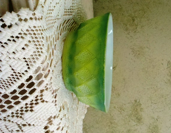 Green Bowl Green & Milk Glass Anchor Hocking Fire King Cereal
