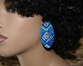Oval Stud Earrings - Fabric Covered Wood Earrings