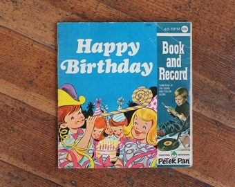 Vintage Children's Book - Book and Record - Happy Birthday (Peter Pan Records)