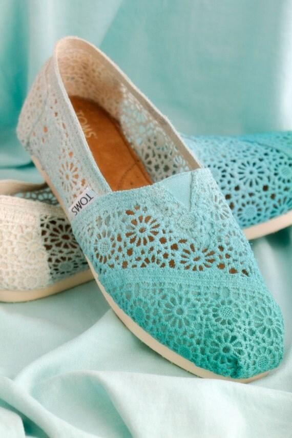 Custom Crochet Blue Ombre TOMS Shoes