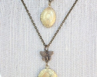 Mother And Daughter Matching Lockets Vintage Lockets With Butterfly