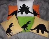 Dinosaur Dino Pillow Cushion Applique OOAK Geek Chic Retro 'Pillowettes' CUSTOM