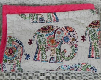"Elephant Toddler Minky Blanket Comforter- Approximately 50"" x 42"" - Ivory with Multi-color Elephants - Choose Minky Color -MADE TO ORDER"